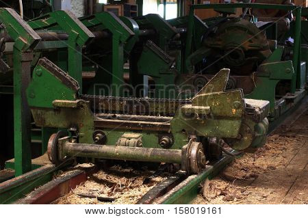 Sawmill manufacturing lines machine part wood industry.