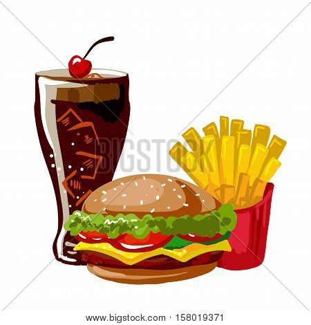 Hamburger or cheeseburger, french fries and glass with cola. Lunch in american fast food restaurant: burger, fried potato and soda drink. Icon in flat style. Vector illustration of isolated on white.