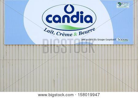 Clermont, France - June 23, 2016: Candia logo on a wall. Candia is a French dairy brand founded in 1971 and belonging to the dairy cooperative group Sodiaal