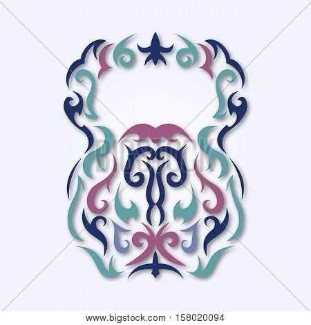 Vector illustration of kettlebell. Kettlebell stylized like tribal art or tattoo. Pictogram in colors.