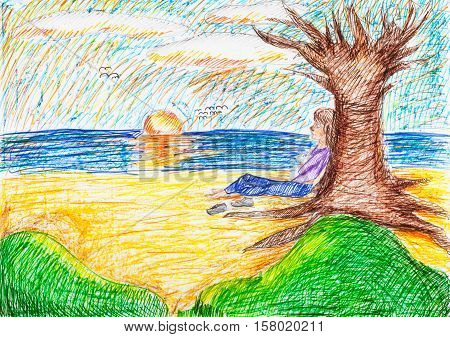 illustration painted by hand with pastel and felt-tip pens - child sitting under bare tree on beach in autumn evening