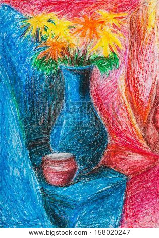 illustration painted by hand with oil pastel - still-life bouquet of flowers in blue vase and red jar