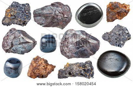 Set Of Various Hematite Rocks And Gemstones