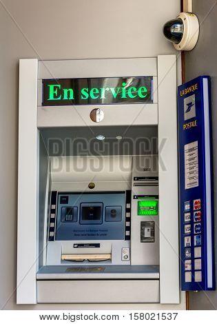 La rochelle France - April 19 2016: Automatic ticket dispenser with a surveillance camera