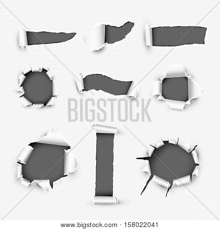 Realistic holes in white paper with damaged sides variety forms and sizes. Torn off white background with ripped edges vector illustrations set. Torn page banner template. Holes in white paper layout. Various holes.