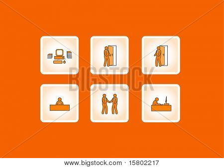 Working office icons. Vector
