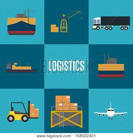 Logistics and freight transportation icons isolated vector illustration. Cargo jet airplane, freight crane, forklift truck, warehouse terminal, commercial truck, packing boxes, freight vessel icons.