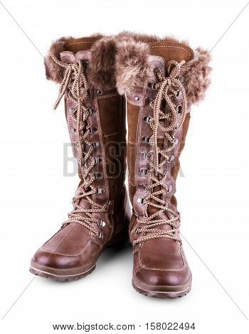 Pair of female boots with fur. Isolate on white.