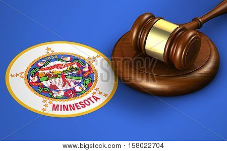 Minnesota US state law legal system and justice concept with a 3d rendering of a gavel on the Minnesotan flag on background.