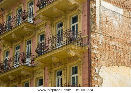 Old building with balconies.