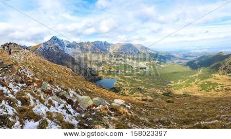stunning panorama of Valley of Five Polish Ponds and Goat Peak mountain, High Tatras, Zakopane, Poland