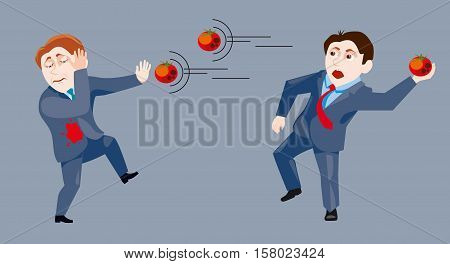 One businessman throws another businessman rotten tomato