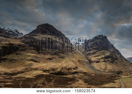 Glencoe landscape at dusk in Scotland UK