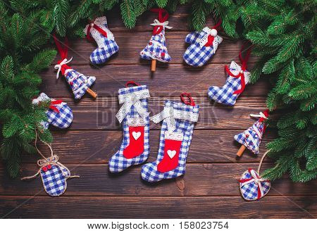 Christmas vintage decor - blue gingham toys on the wooden table