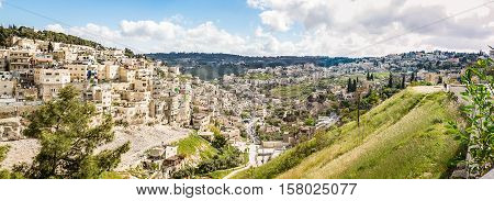 View of the Village of Siloam from the opposite hill in the East Jerusalem neighborhood of Silwan south of the Old City Israel