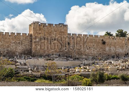 The Golden Gate or Gate of Mercy and ancient cemetery on the east-side of the Temple Mount of the Old City of Jerusalem Israel