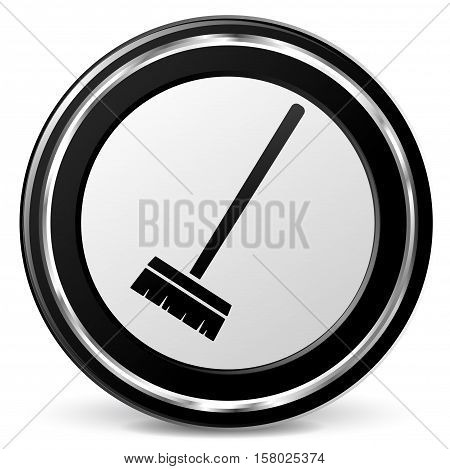 Illustration of broom icon on white background