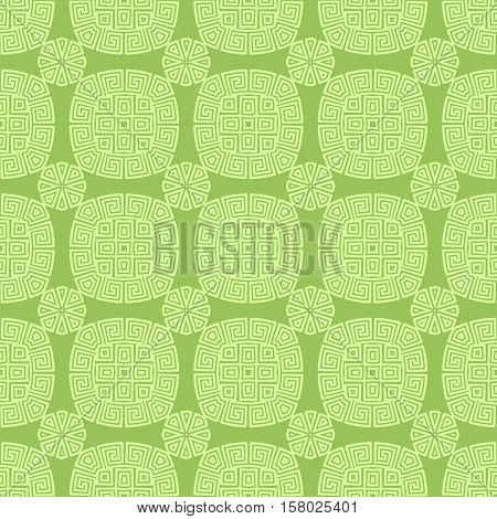 Green Seamless Geometric Greek Ornament. Square Wave Forms in Greek Style.
