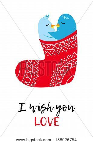 Christmas vector card with love pinguines, Xmas cartoon funny stocking