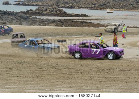 Vazon bay Guernsey UK-September 18th 2016: Guernsey Motor Cycle Car Club LBG sand racing at low tide at Vazon Bay Guernsey Channel Islands