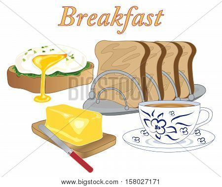 an illustration of breakfast style food with a poached egg toast butter and a cup of tea on a white background