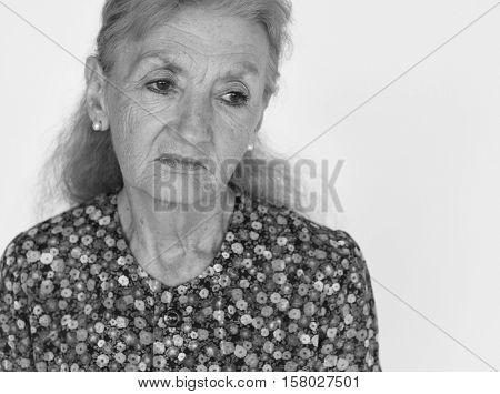 Lonely Senior Adult Woman Sad Boredom Expression Concept