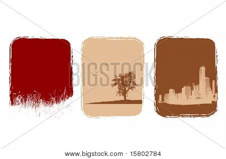 Tree illustrations of grass, tree and city. Vector art