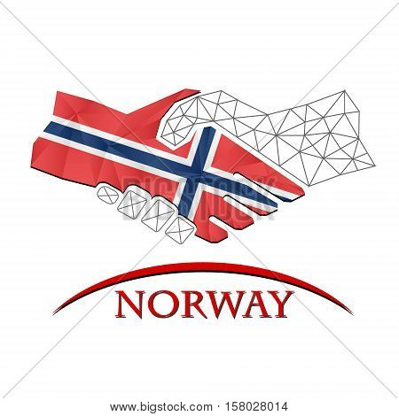 Handshake logo made from the flag of Norway.
