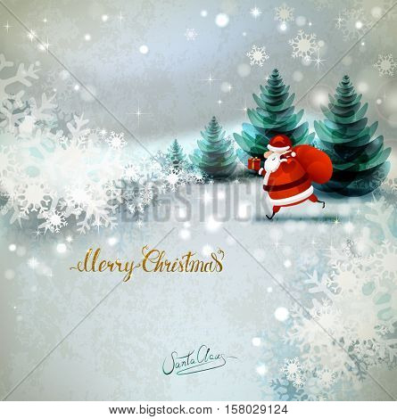 Santa Claus on the Winter landscape. Place for congratulation with Santa signature. Merry Christmas gold texture Lettering.
