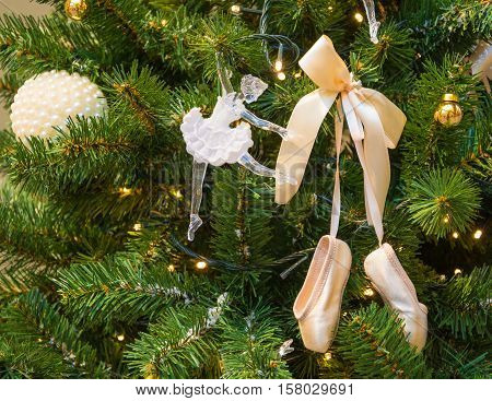 Christmas tree with decorations - with doll-ballerina and ballet slippers