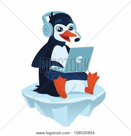 Cute cartoon penguin with a laptop playing video games and sitting on an ice floe. Vector illustration of cute penguin gamer with his laptop on a pillow in flat cartoon style on a white background.
