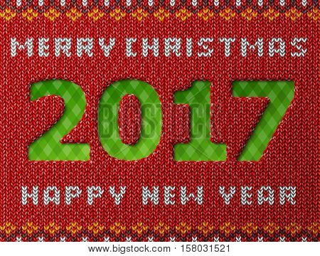 New Year 2017 as hole in knitted background. Fragment of knitwear with year number and holiday wishes. Vector illustration for new years day christmas winter holiday new years eve knitting etc