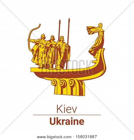Vector symbol. The monument to founders of Kiev. Ukraine. jpg, eps