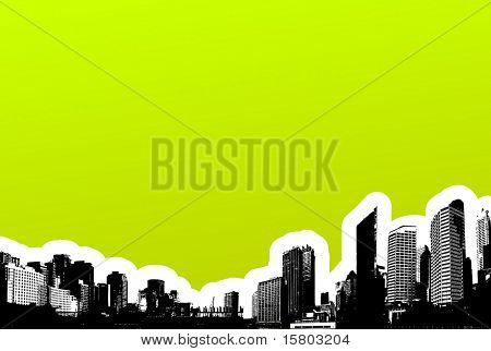Black city on green background. Vector art