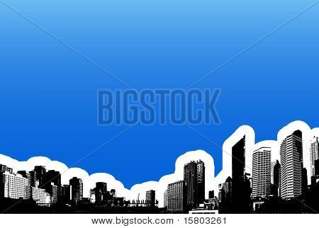 Black city on blue background. Vector art