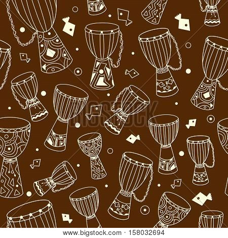 Hand drawn african drums djembe. Ethnic seamless pattern. Vector EPS10 sketchy illustration.