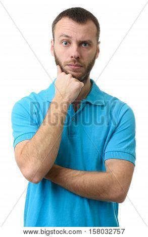 Portrait Of Bearded Man Raising Eyebrow