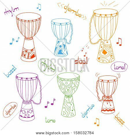 Hand drawn african drums djembe. Ethnic doodles set. Childish style. Six instruments with different size, decoration and colors. Sketchy vector EPS10 illustration.