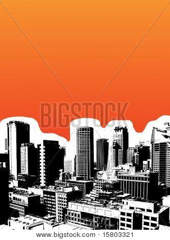 Black city on orange background. Vector art