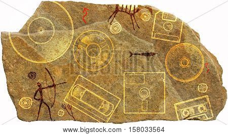 Piece of stone with ornament depicting prehistoric cave paint with hunters animals and floppy disk, tape, and the plate
