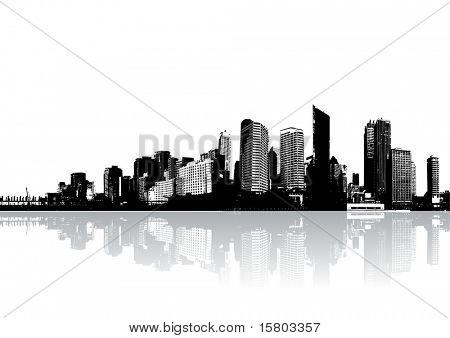 Skyscrapers reflected on water. Vector art.