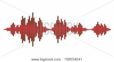 Red sound waves for party isolated on white background. Vector Illustration