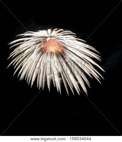 White amazing fireworks isolated in dark background close up with the place for text, Malta fireworks festival, 4 of July, Independence day, New Year, explode