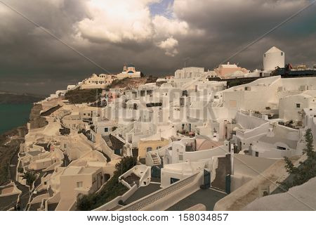 Oia,  view of Oia town, Santorini island, Greece. Toned Image