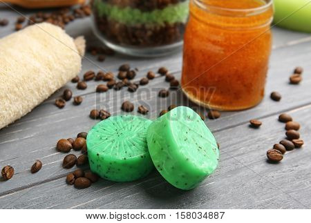 Exfoliating soap and set for peeling on background