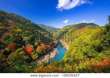 Autumn at Arashiyama view point and Hozu river, Japan