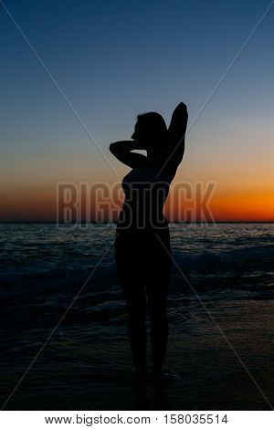 Sexy slender woman posing against sunset at beach. Copy space text.