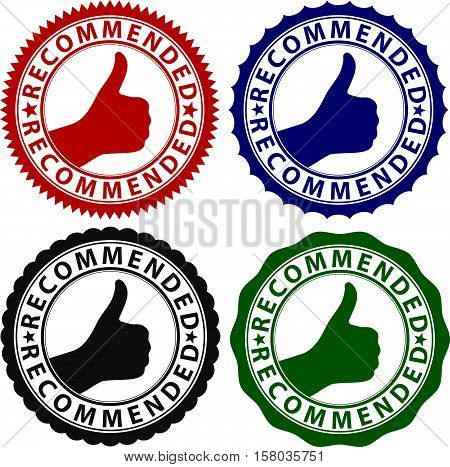 Recommended label set, recommended sign set, vector illustration