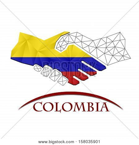 Handshake logo made from the flag of colombia.