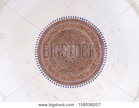 DELHI, INDIA - FEBRUARY 13 : Detail of the ceiling in Isa Khan's Tomb. Humayun's Tomb complex, Delhi, India on February 13, 2016